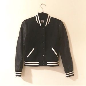 Navy letterman bomber with faux leather sleeves